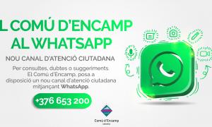 L'anunci del nou canal per comunicar-se amb el Comú d'Encamp.