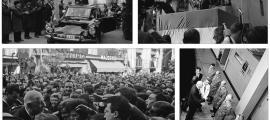 De Gaulle, circulant pel carrer major d'Ordino a bord de la DS presidencial, i en ple discurs a la tarima aixecada davant de ca l'Eduardo, a la plaça Benlloch de la capital (a dalt); bany de masses a la plaça Benlloch, amb els kepis dels gendarmes en primer terme; el general passa revista al personal de Sud Radio, al cap del Pic Blanc (a baixa, a la dreta).