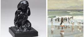 Les dues obres ja confirmades de la pròxima exposició del Thyssen: el bronze 'Petit nu ajagut' (1908), de Matisse (13,6 per 9 per 10 centímetres), i 'Escena de platja' (1868), de Homer (oli sobre tela, 29 per 24 centímetres).