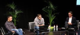 Joaquim 'Purito' Rodríguez i Àngel Edo durant la conferència que ha moderat Xevi Guinovart.