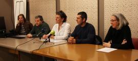 Asensio, Matarrodona i Núñez i membres de la junta del Sitca van comparèixer per valorar l'anul·lació de la rebaixa del GAdA, ahir.