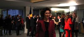 La ministra d'Afers Exteriors en funcions, Maria Ubach, durant la celebració del dia de la Constitució.