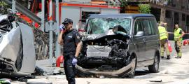 Així van quedar els dos vehicles a l'accident mortal de dilluns a la zona de la Farga Rossell, entre Ordino i la Massana.