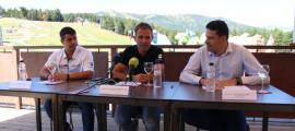 Agustí García, Josep Marticella i Josep Vilana en la roda de premsa d'aquest matí.