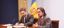 Jover i Ribar en la roda de premsa posterior al consell de ministres.