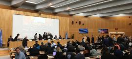 Els representants andorrans a la Cimera de l'Alta Muntanya que celebra l'Organització Meteorològica Mundial a Ginebra.