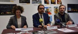 Maria Ubach, Jordi Serracanta i Jean Michel Armengol durant la presentació de les activitats.