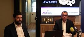 El president d'Actinn, Albert Moles, i el clúster manager d'Actinn, Ivan Mora, durant la presentació del premi.