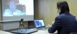 El secretari d'Estat d'Afers Europeus, Landry Riba, durant la trobada.
