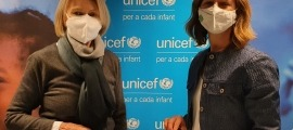 La presidenta de l'Unicef Andorra, Laura Álvarez i Marissa McDonald, directora de Re&Wear.