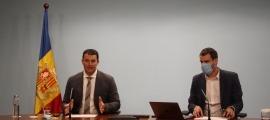 Jordi Gallardo i Marc Galabert en la compareixença d'aquesta tarda.