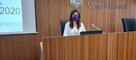 La directora de l'AQUA, Marta Fonolleda, en la compareixença d'aquesta tarda.