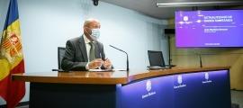 El ministre de Salut, Joan Martínez Benazet, en la roda de premsa d'aquesta tarda.