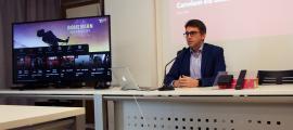 El portaveu d'Andorra Telecom, Carles Casadevall, durant la roda de premsa.