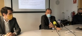 Un moment de la presentació de l'acord d'Andorra Telecom amb Univers Bomosa i Worldcoo.