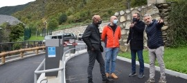 Xavier Fernández i Joan-Marc Pifarré durant la inauguració de l'aparcament de les Bons.