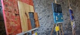 Algunes de les obres exposades en el marc de la cloenda de la setena edició de l'Art Camp Andorra.