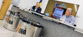 Valentí Closa i el músic i director de la Grandàlia, Jordi Barceló, durant la presentació d'avui.