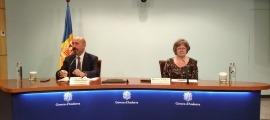 Joan Martínez Benazet i Rosa Vidal en la compareixença d'aquesta tarda.