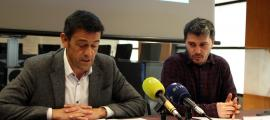 ANA/ El cònsol major d'Ordino, Josep Àngel Mortés, i el conseller d'Agricultura, Medi Ambient i Sostenibilitat, Marc Pons, durant la roda de premsa.