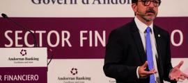 ANA/ El ministre de Finances, Jordi Cinca, en una conferència sobre el sector financer andorrà a Europa.