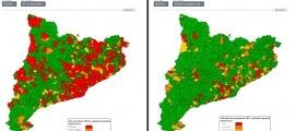 Mapes d'incidència de la Covid a Catalunya.