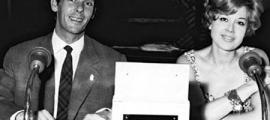 Danjon, al micròfòn de Radio Andorra, als anys daurats de l'estació: el seu nom artístic era llavors Michel Avril.