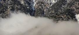 El pic de Carroi vist des d'Andorra la Vella, aquest matí.