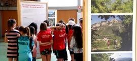 Un grup d'eescolars visitant l'exposició ' Històries i camins'.