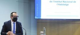El ministre de Territori i Habitatge, Víctor Filloy, en la presentació de la llei de creació de l'INH.