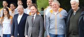 Garcia, a la dreta, en la presentació de la delegació andorrana pel Jocs Europeus de Minsk el juny passat.