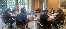 Un moment de la reunió de la junta de presidents, avui.