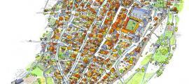 Reconstrucció ideal de la ciutat de la Seu al segle XIV: Villaró calcula que tenia entre 1.400 i 1.500 habitants. Entre la quarta i la tercera part van perdre la vida durant la pandèmia del 1348, que es va allargar entre el juny i l'agost d'aquell any.