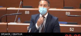 Pere López en un moment de la seva intervenció al Consell d'Europa.