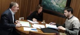 Majoral, Codina i Cairat en la reunió d'ahir.