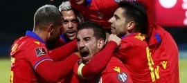 La selecció d'Andorra celebra el 0 a 1 de Marc Pujol contra San Marino. Foto: FAF / Xavi Miró