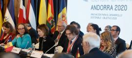 Un moment de la intervenció de Maria Ubach a la Reunió iberoamericana de ministres d'Afers Exteriors d'ahir a Soldeu.