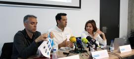 Els directors d'Ensisa, Nevasa i Saetde, Hidalgo, Torreño i Canals, respectivament, ahir, presentant la temporada d'estiu.
