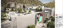 Imatge del projecte inicial presentat per Jocs SA amb la plaça pública a la teulada del casino i la connexió amb la plaça del Poble.