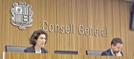La ministra d'Afers Exteriors, Maria Ubach, ahir en la compareixença davant la comissió legislativa de Política Exterior.