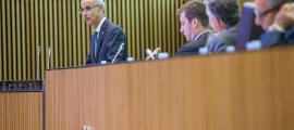 El cap de Govern, Antoni Martí, en un moment de la primera jornada del debat d'orientació política al Consell General.