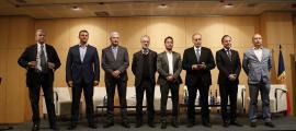 Els set caps de llista de les candidatures nacionals van participar ahir al debat organitzat per la Confederació Empresarial Andorrana.