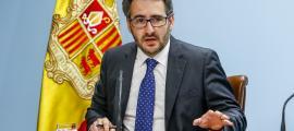 El portaveu de l'executiu, Eric Jover, en la compareixença d'ahir posterior al consell de ministres.
