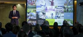 Un moment de la presentació de la nova Marca Andorra ahir al vestíbul del Consell General.