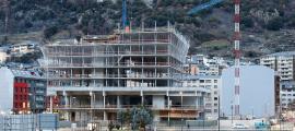 Les obres de la nova seu de la Justícia, que s'està construint al Prat del Rull d'Andorra la Vella.