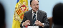 El ministre d'Afers Socials, Justícia i Interior, Xavier Espot, en la seva compareixença d'ahir.