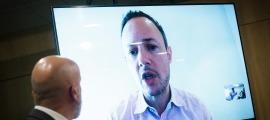 El cap de Govern, Xavier Espot, en la compareixença virtual d'avui amb el ministre de Salut.