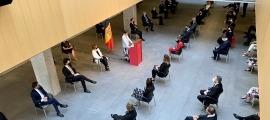 Un moment del discurs de la síndica, Roser Suñé, amb motiu del Dia de Meritxell aquest matí al vestíbul del Consell General.