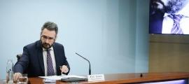El ministre portaveu, Eric Jover, en un moment de la roda de premsa posterior al consell de ministres.