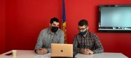El secretari d'organització del PS, Pere Baró, i el coordinador de la JSA, Joao de Melo, en la compareixença telemàtica d'ahir.